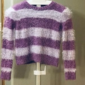 Kids striped fuzzy sweater